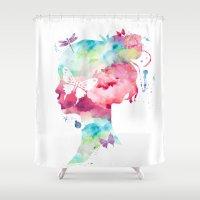 selfie Shower Curtains featuring SELFIE by L'Atelier de Magie