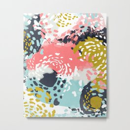 Athena - Abstract, pink, pastel, yellow, blue painting, abstract cell phone case, painterly design Metal Print
