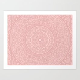 Rosey Pink Aztec Tribal Mandala Detailed Intricate Unique Art Print