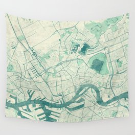 Rotterdam Map Blue Vintage Wall Tapestry