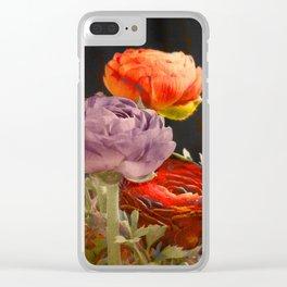 Vintage Ranunculus Clear iPhone Case