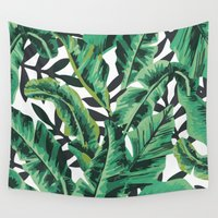 leaf Wall Tapestries featuring Tropical Glam Banana Leaf Print by Nikki