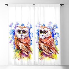 Owl Who Loves Bluebell Flowers, Owl art, Bright colored Owl design Blackout Curtain