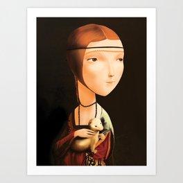 Dama con Ermellino -  Lady with an ermine Art Print