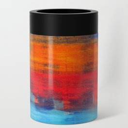 Horizon Blue Orange Red Abstract Art Can Cooler