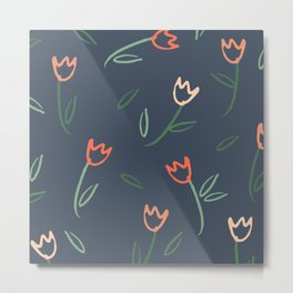 Plants and Petals in Navy Metal Print
