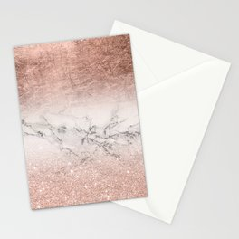 Modern faux rose gold glitter and foil ombre gradient on white marble color block Stationery Cards