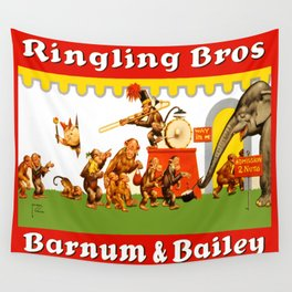 Retro Circus Poster - Monkeys Wall Tapestry