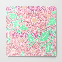 Zen Flowers Doodle Design - Pink Coral Metal Print