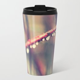 Happiness. Red twig covered with rain drops. Travel Mug