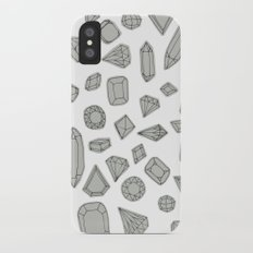 doodle crystals on white iPhone X Slim Case