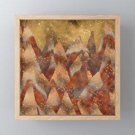 Abstract Copper  Gold Glitter Mountain Dreamscape Framed Mini Art Print