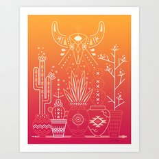 Santa Fe Garden – Orange Sunset Art Print