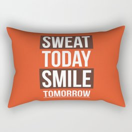 Lab No. 4 - Sweat Today Smile Tomorrow Gym Motivational Quote Poster Rectangular Pillow