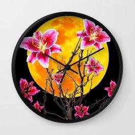 EXOTIC FUCHSIA STAR GAZER PINK LILIES MOON ART Wall Clock
