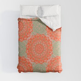 Flower Mandalas Coral Pattern Comforters