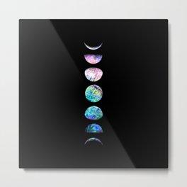 Peacock Opal Moon Cycle Metal Print