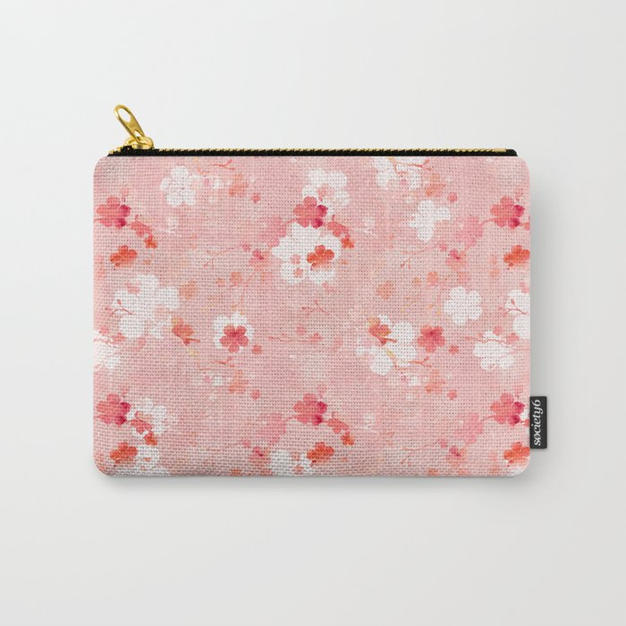 Peach pink Chinese cherry blossom Carry-All Pouch
