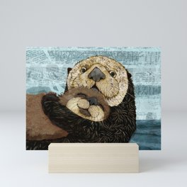 Sea Otter Mother and Baby Mini Art Print