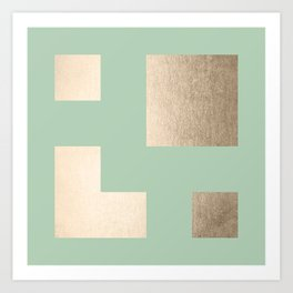 Simply Geometric White Gold Sands on Pastel Cactus Green Art Print