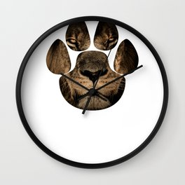 Beautiful Lion Face Paw Print Photo Graphic Wall Clock