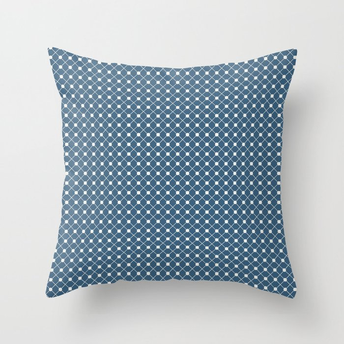 Off White Angled Polka Dot Grid Line Pattern on Blue - 2020 Color of the Year Chinese Porcelain Throw Pillow