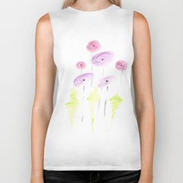 pink and coral poppy flowers Biker Tank