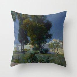Joaquín Sorolla y Bastida (Spanish, 1863 - 1923) Corner of the Garden, Alcazar, Sevilla, 1910, Oil Throw Pillow