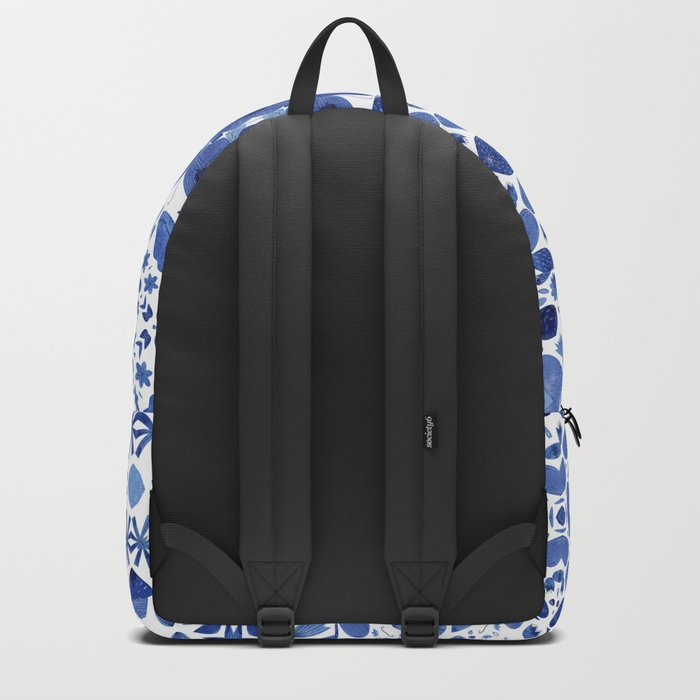 Indigo Watercolor Tiles Backpack