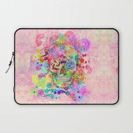 Girly Sugar Skull Pink Glitter Fine Art Paint Laptop Sleeve