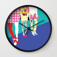 chic Wall Clocks featuring chic by BuBu illustration