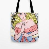 art nouveau Tote Bags featuring Art Nouveau  by Brizy Eckert