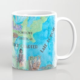 New Orleans Louisiana Favorite Travel Map with Touristic Highlights in colorful retro print Coffee Mug