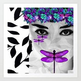 DRAGONFLY WOMAN Art Print