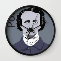 poe Wall Clocks featuring Poe. by Tara Durrant Designs