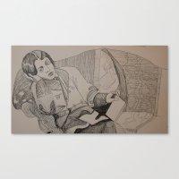 oscar wilde Canvas Prints featuring Oscar Wilde Author Portrait by Wicked Ink