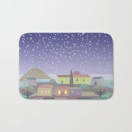 Snowing Village at Night (Square) Bath Mat