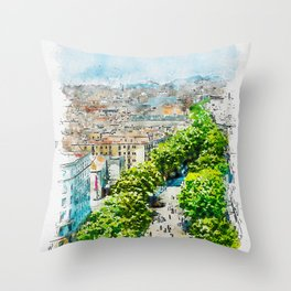 Aquarelle sketch art. Barcelona from above Throw Pillow