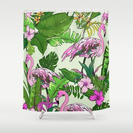Pink Flamingoes and Tropical Flowers Print Shower Curtain