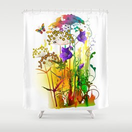 Tropical floral colorful painting with field plants,flowers and butterfly. Summer landscape Shower Curtain