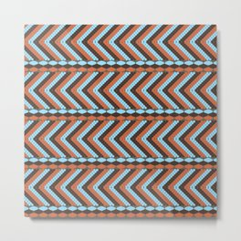 African abstract retro tribal   pattern.Turquoise and brown. Metal Print
