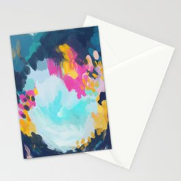 Blooms in storm- abstract pink, blue and teal  Stationery Cards