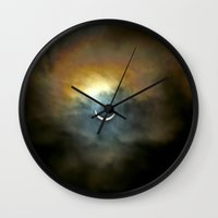 discount Wall Clocks featuring Solar Eclipse 2 by Aaron Carberry