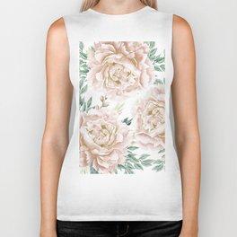 Pretty Blush Pink Roses Flower Garden Biker Tank