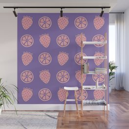 Tropical exotic grapefruit slices and sweet strawberries summer fruity dusty pink and purple cute pattern design. Wall Mural