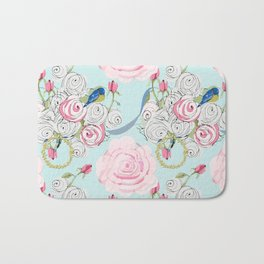 Bluebirds and Shabby Chic Roses on Paris Blue Bath Mat
