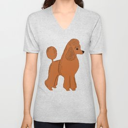 Red Apricot Poodle with Peach Pink & Hearts Unisex V-Neck