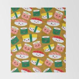 pattern Kawaii funny sushi set with pink cheeks and big eyes, emoji on brown mustard background Throw Blanket