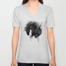 Black and White Horse Head Watercolor Silhouette Unisex V-Neck