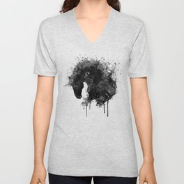 Black and White Horse Head Watercolor Silhouette Unisex V-Neck
